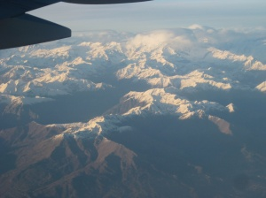Over the Alps, enroute to USA