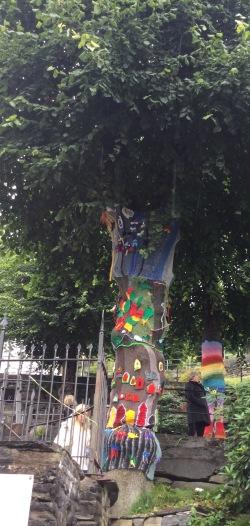 Yarn-bombed trees